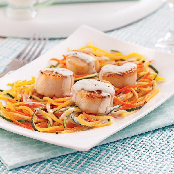 Pétoncles au Boursin Cuisine et julienne de légumes