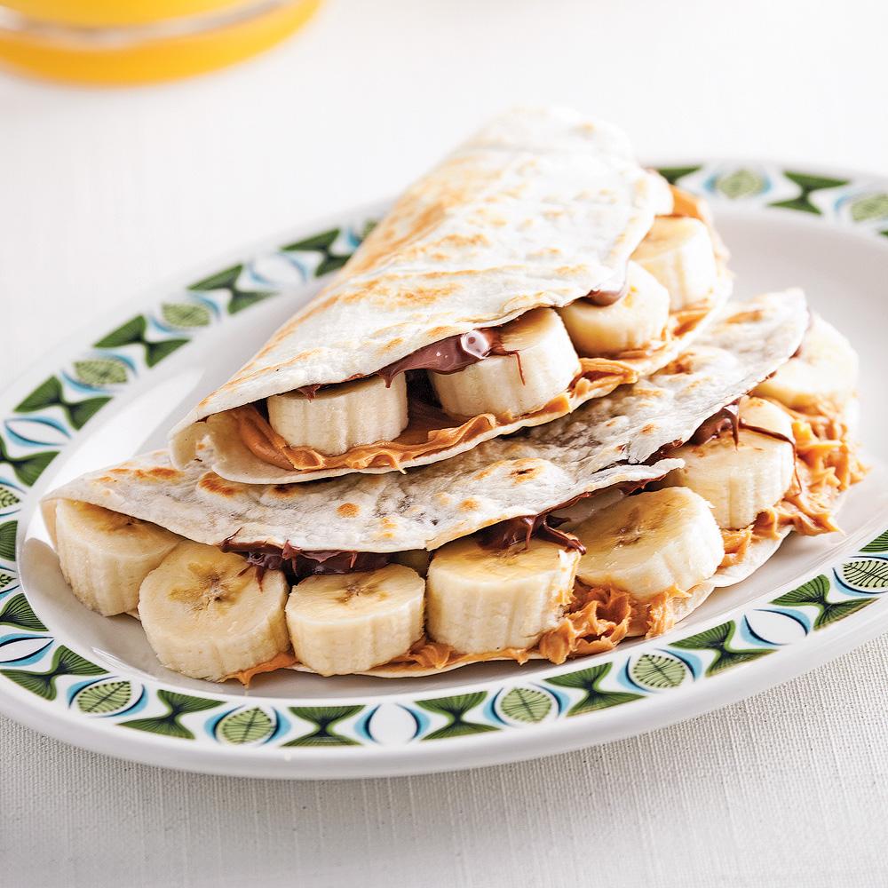 Tortillas bananes, choco et beurre d'arachide