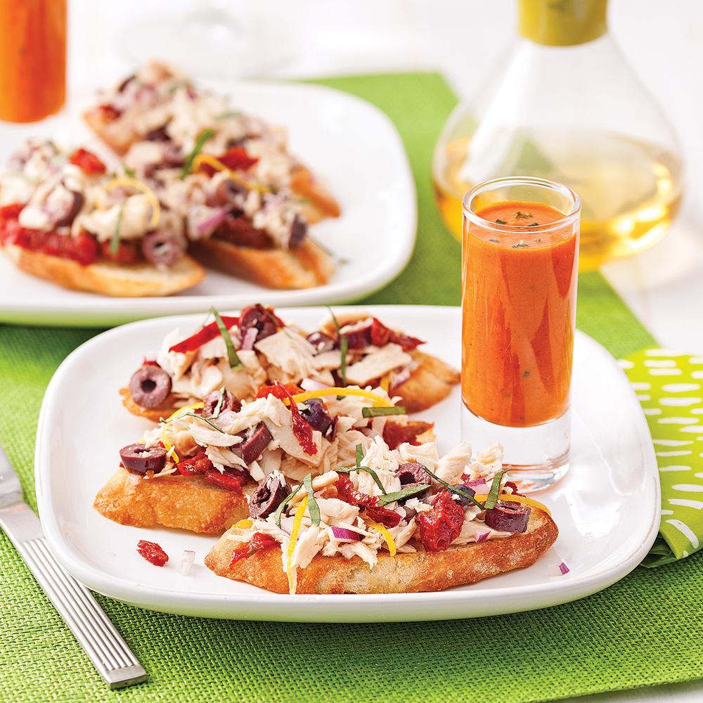 Bruschettas au thon et tomates séchées