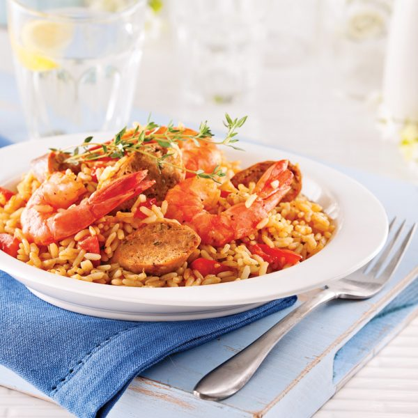 Jambalaya aux saucisses et crevettes