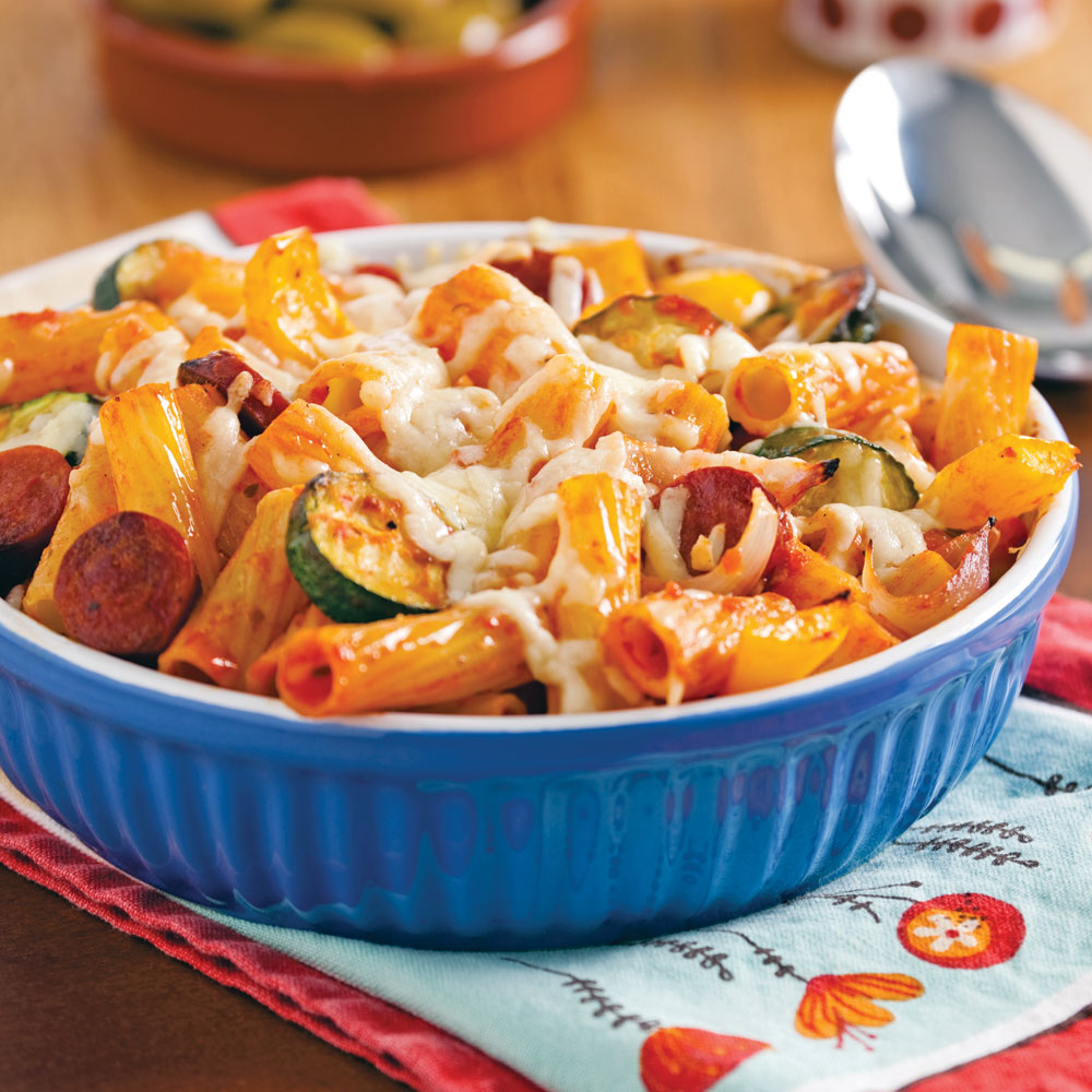 Gratin de rigatonis aux légumes rôtis et chorizo