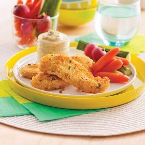 Lanières de poulet en croûte de couscous et parmesan
