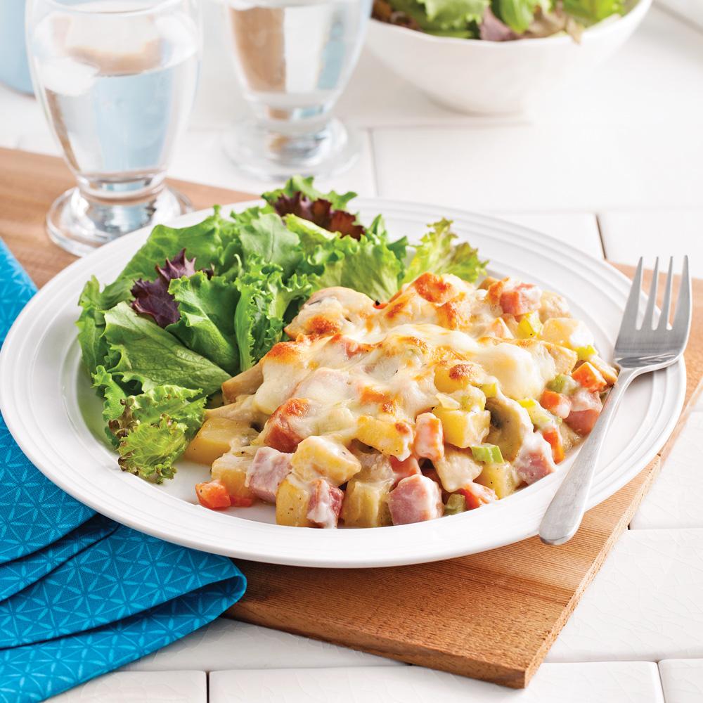Cassolettes de jambon et légumes gratinés