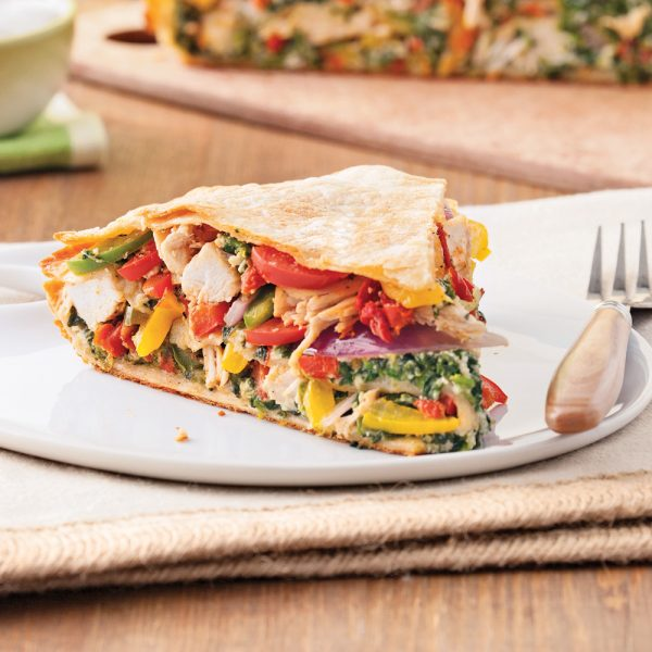 Étagé de tortillas au poulet et légumes