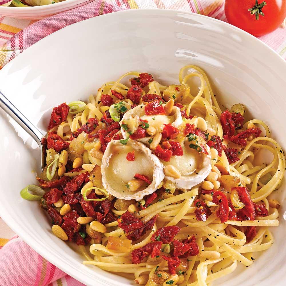 Linguines aux tomates séchées et chèvre