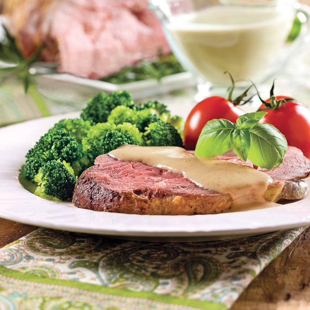 Gigot d'agneau, sauce Alfredo au basilic