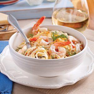 Linguines aux crevettes, sauce Grand Marnier