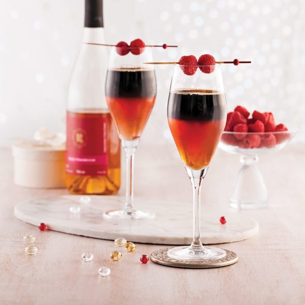 Cocktail au cidre de framboise et bière noire