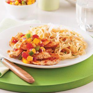 Poulet au pesto et à la salsa