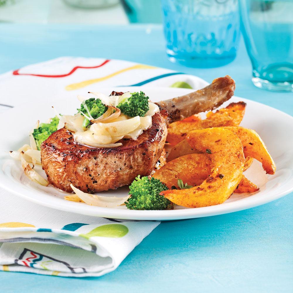 Côtelettes de porc au brocoli et fromage