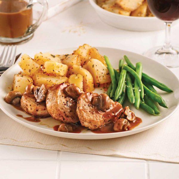 Médaillons de porc, sauce champignons, marsala et poivre
