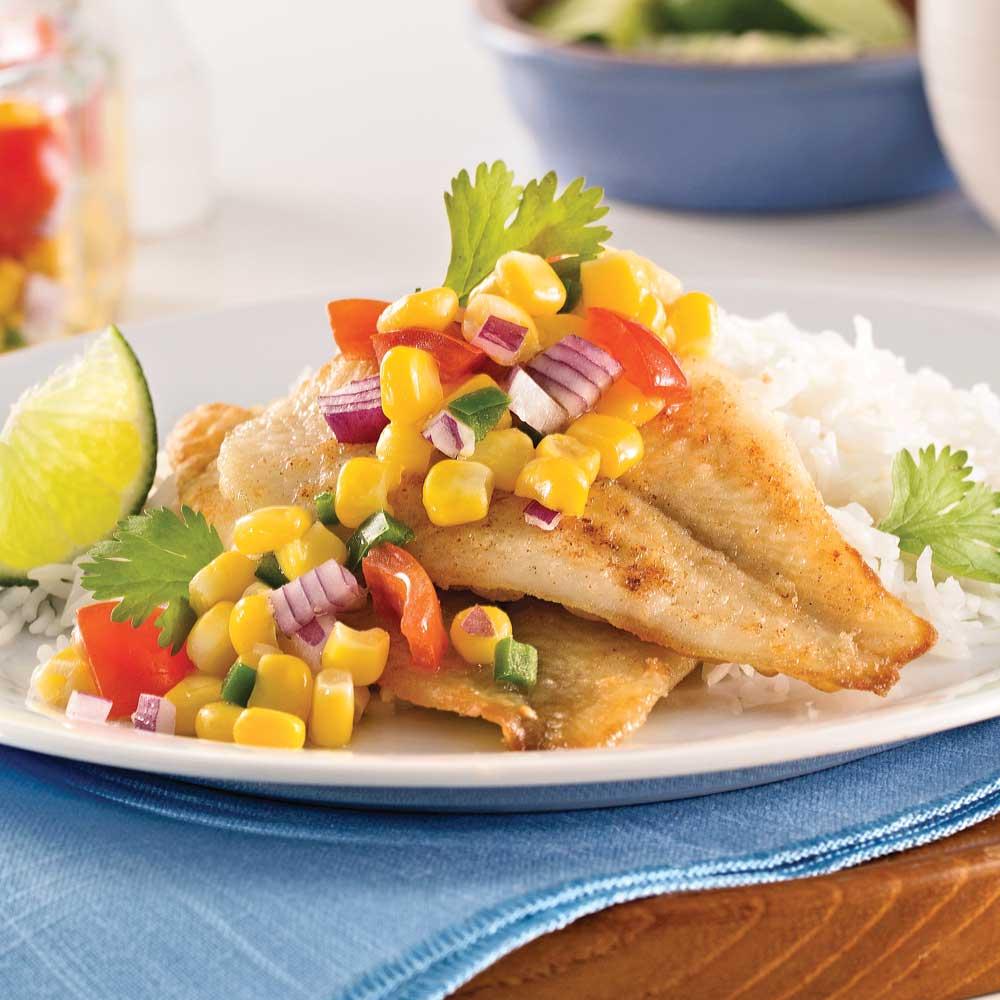 Filets de sole, salsa de maïs