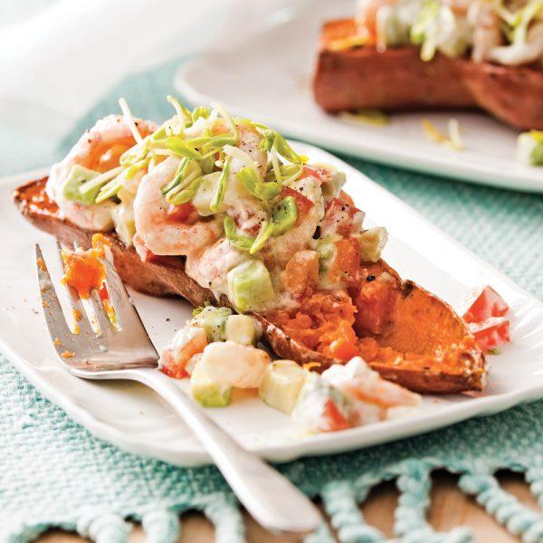 Patates douces rôties et salsa de crevettes