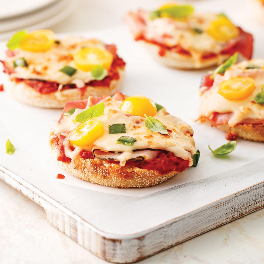 Mini-pizzas sur muffins anglais
