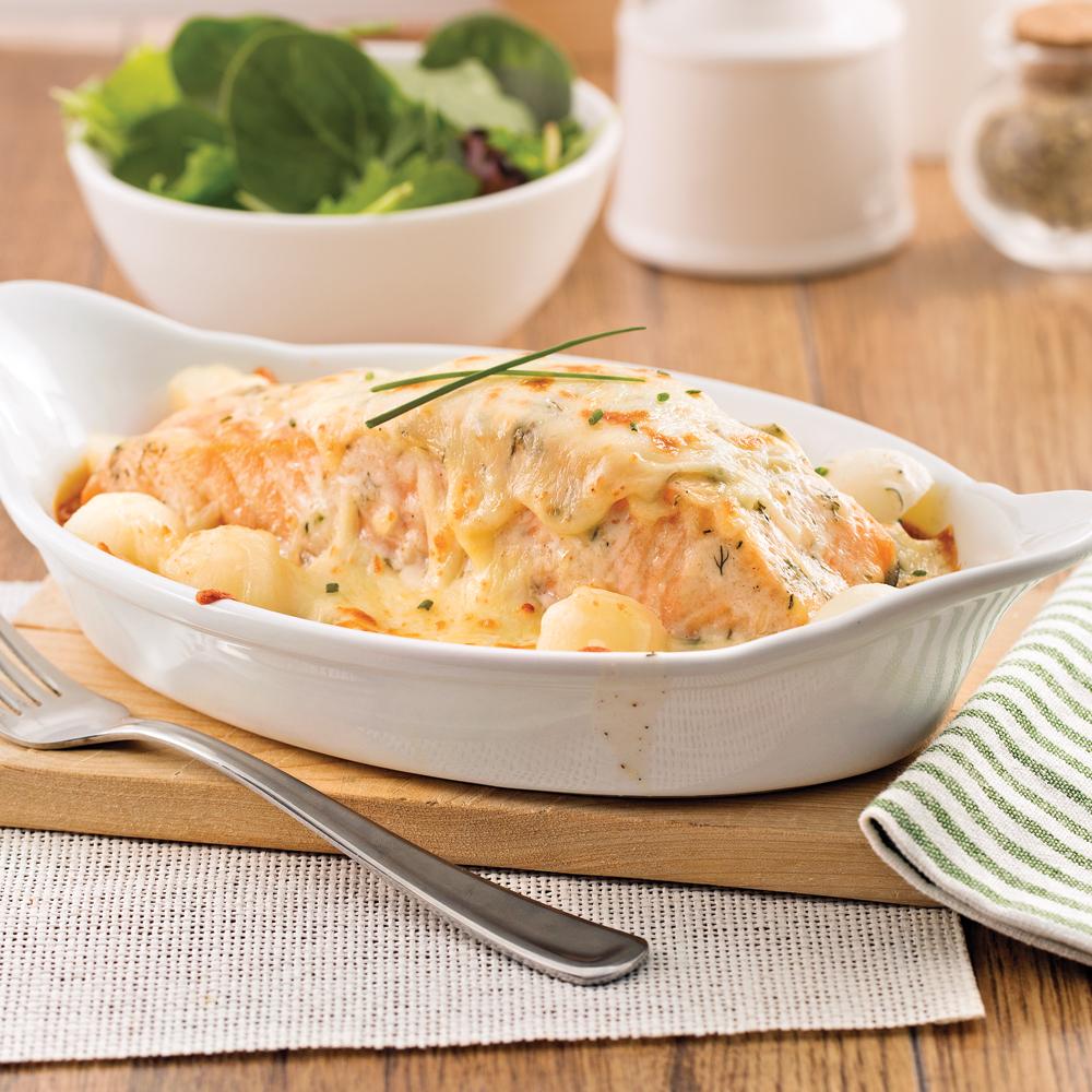 Gratin de saumon et pommes de terre à l'aneth