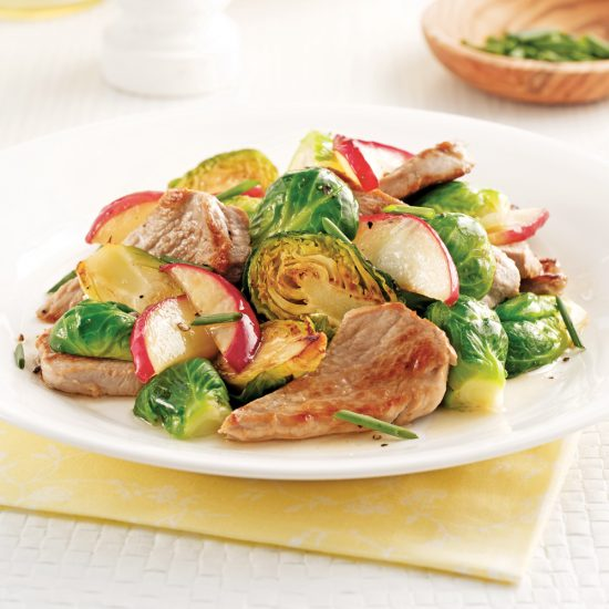 Pork Stir-Fry with Brussels Sprouts and Apples