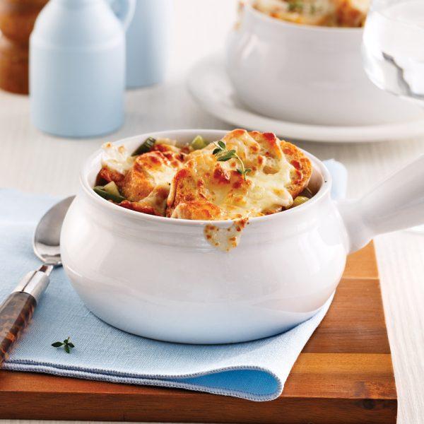 Soupe de poireaux gratinée au cheddar fort