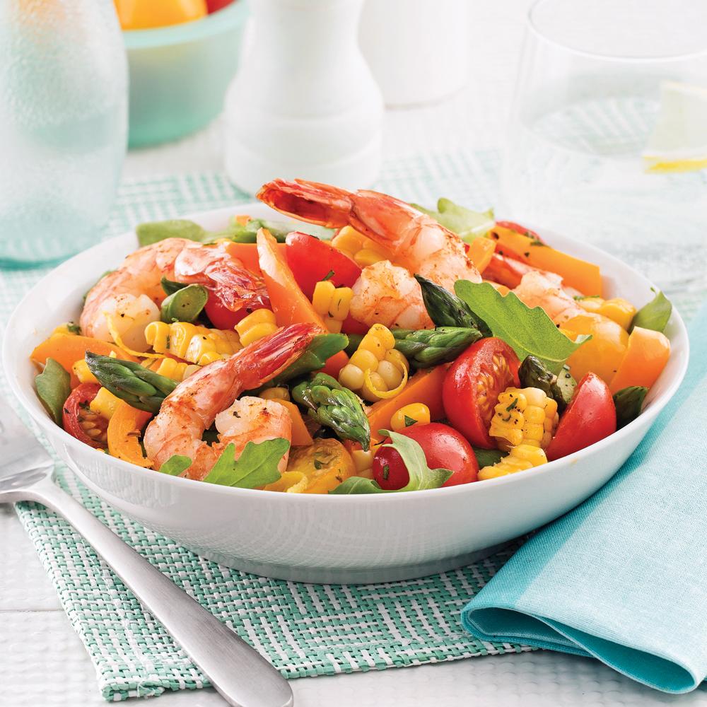 Salade tiède aux crevettes
