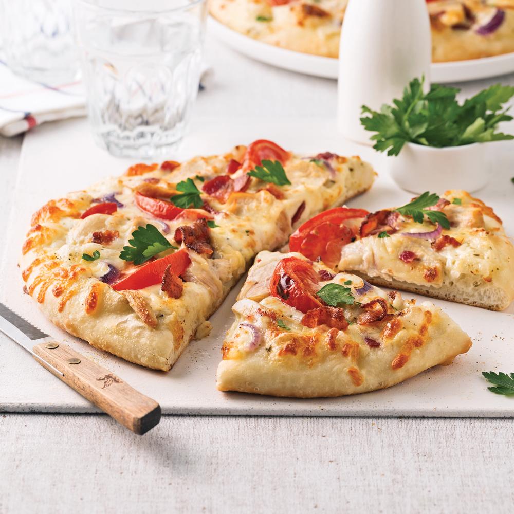 Pizza ranch au poulet et bacon