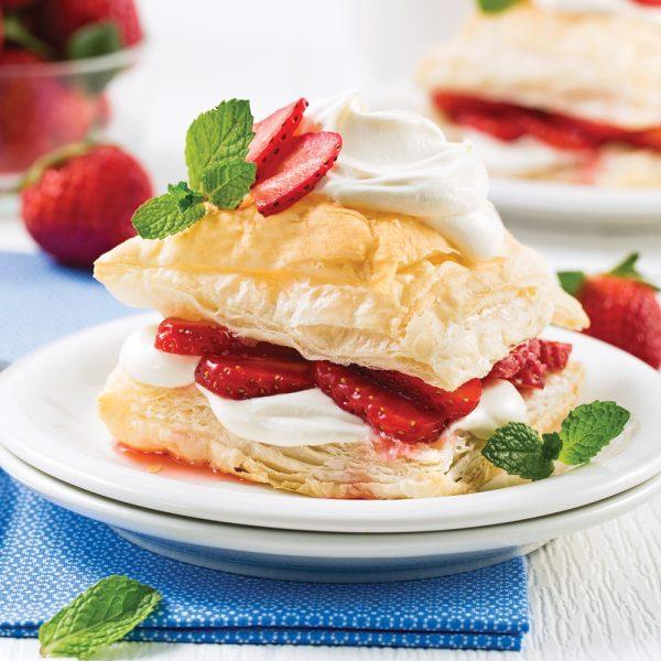 Feuilletés aux fraises et mousse à l'érable
