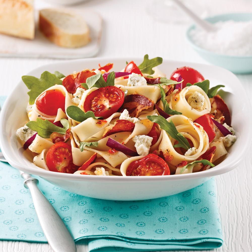 Pappardelles aux tomates confites et pancetta