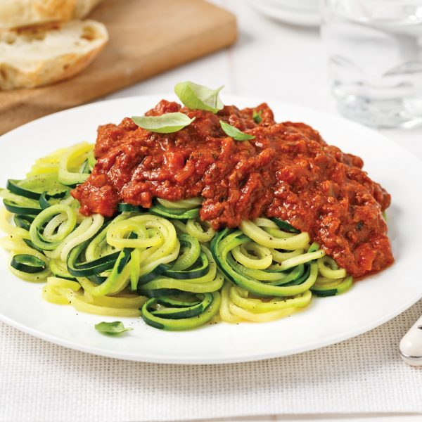 Spaghettis de courgettes, sauce à la viande