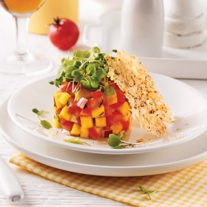 Tartare de tomates et mangue