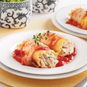 Rouleaux de lasagne au poulet
