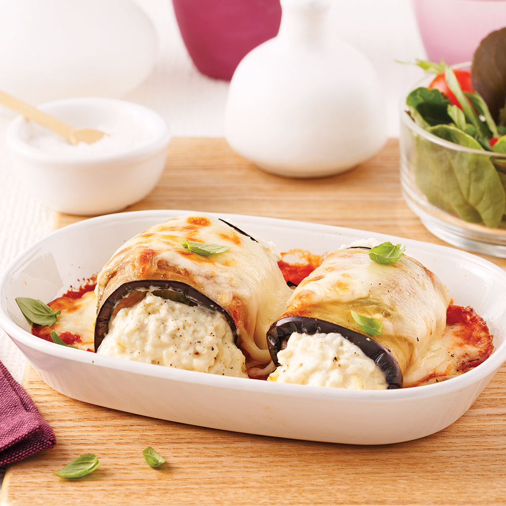 Roulades d'aubergine au fromage