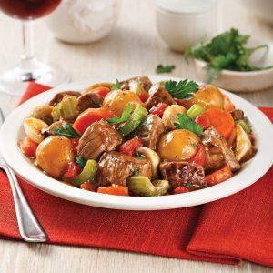 Mijoté de boeuf aux légumes et pommes de terre parisiennes à la mijoteuse