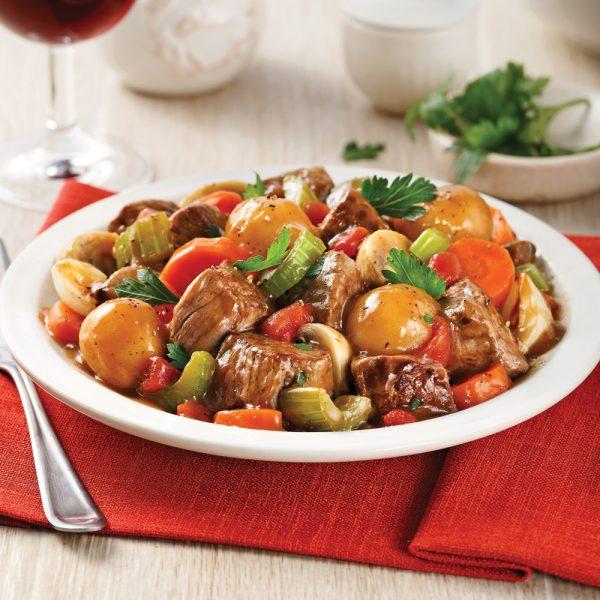 Mijoté de boeuf aux légumes et pommes de terre parisiennes
