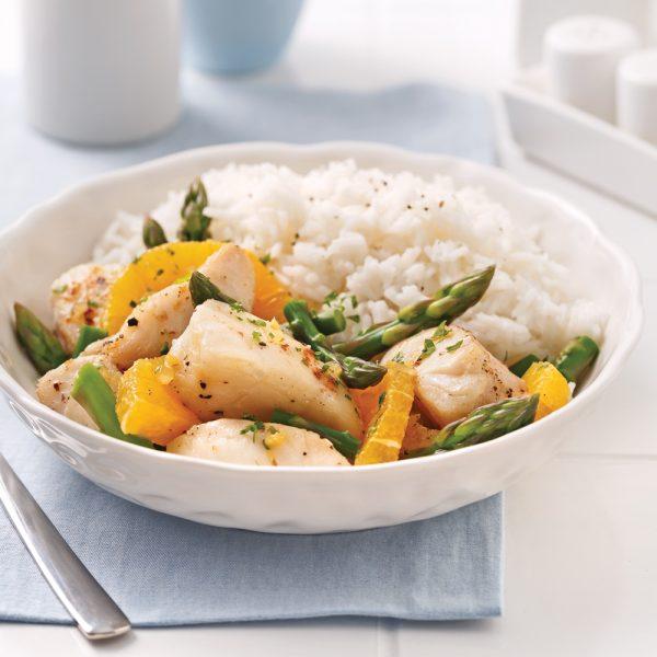 Poêlée d'aiglefin asperges et orange