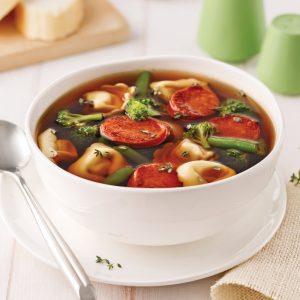 Soupe aux tortellinis et chorizo