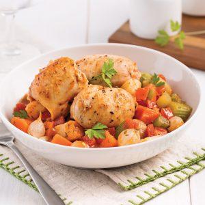 Mijoté de poulet aux légumes et tomates