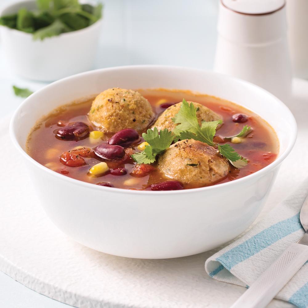 Soupe-repas aux falafels