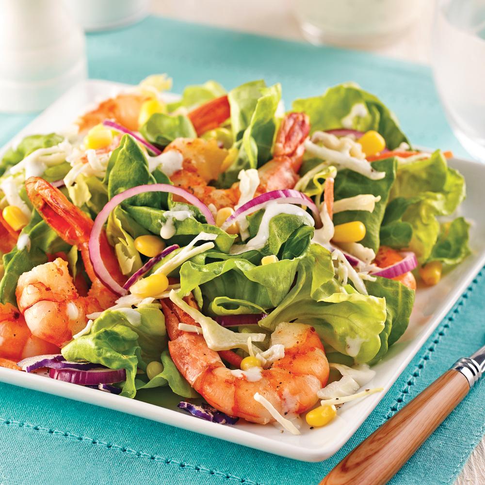 Salade ranch aux crevettes et maïs