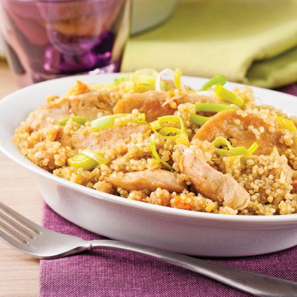 Émincé de poulet au cari et quinoa