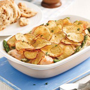 Casserole de saumon, asperges et pommes de terre