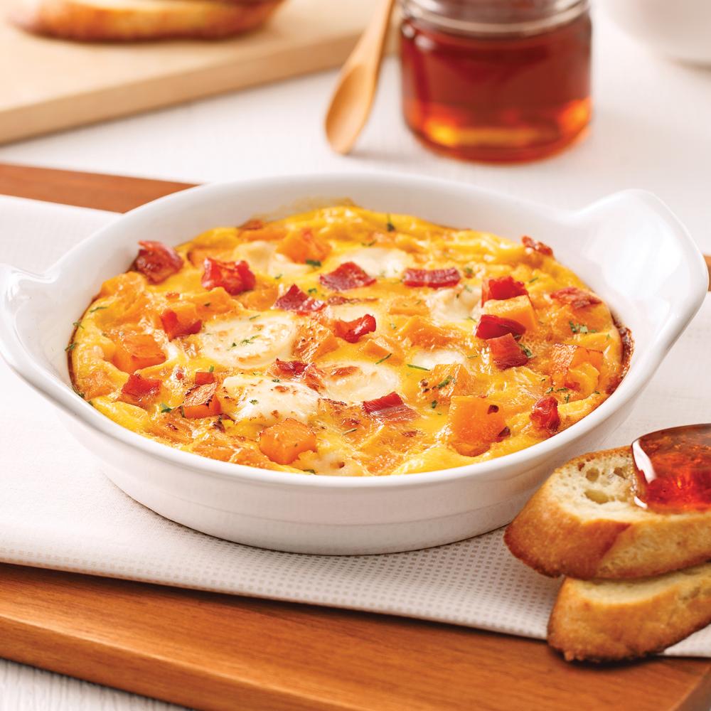 Cassolettes d'oeufs, bacon, fromage et courge