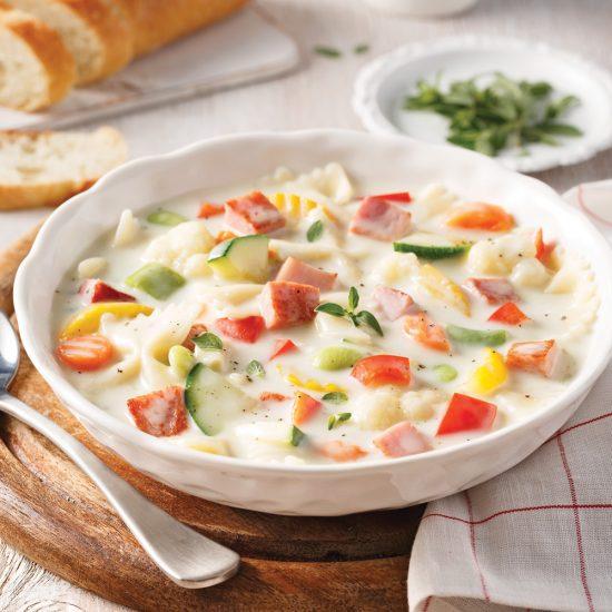 Soupe crémeuse au jambon