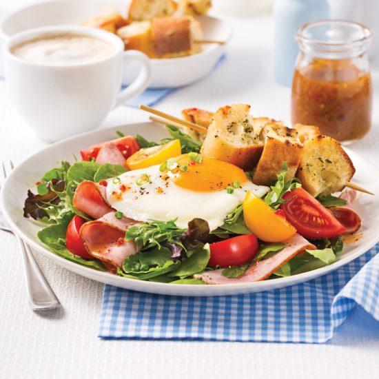 Salade tiède oeuf et jambon
