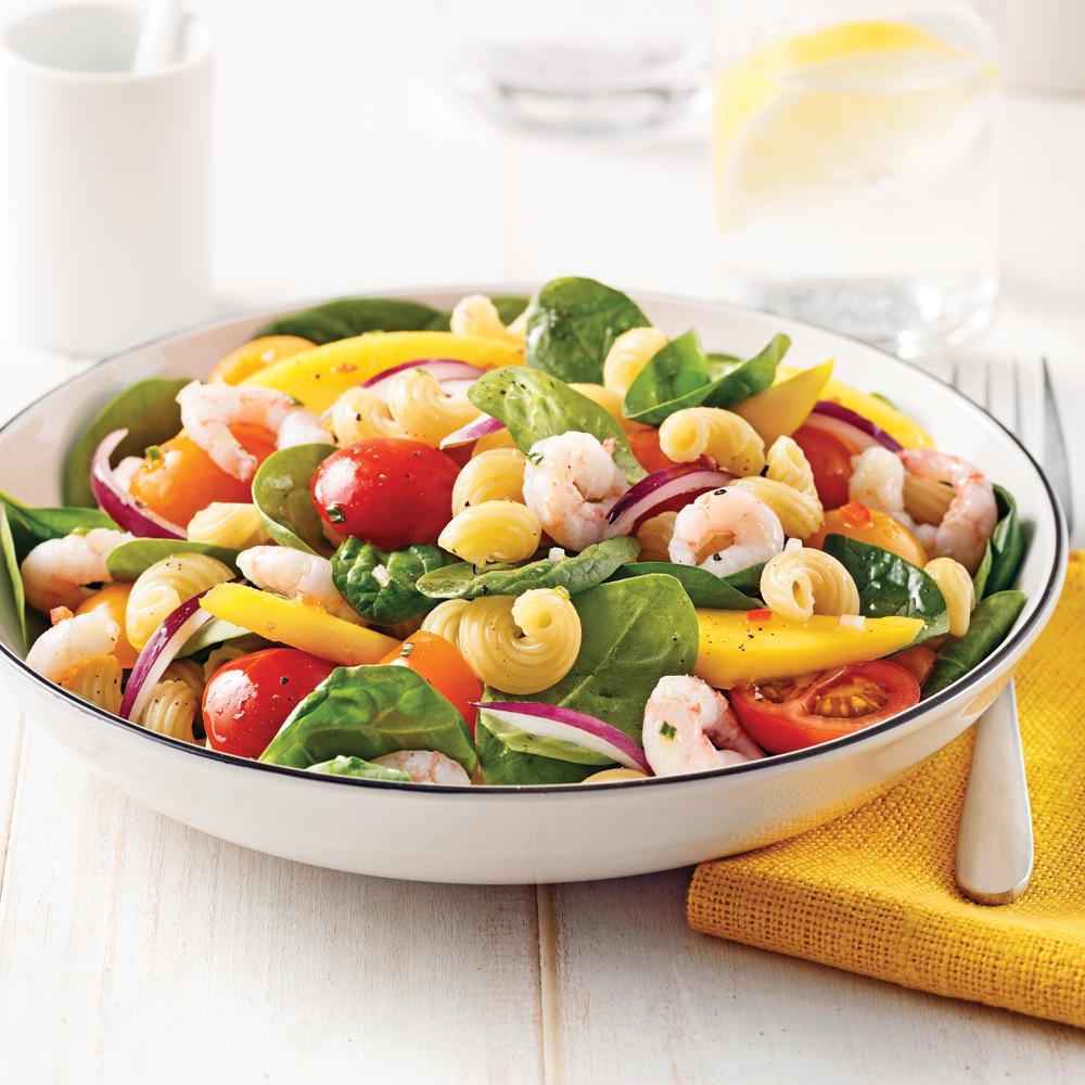 Salade de tortiglionis aux crevettes et mangue