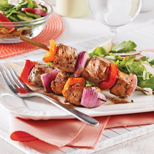 Brochettes de poulet, érable et vinaigre balsamique