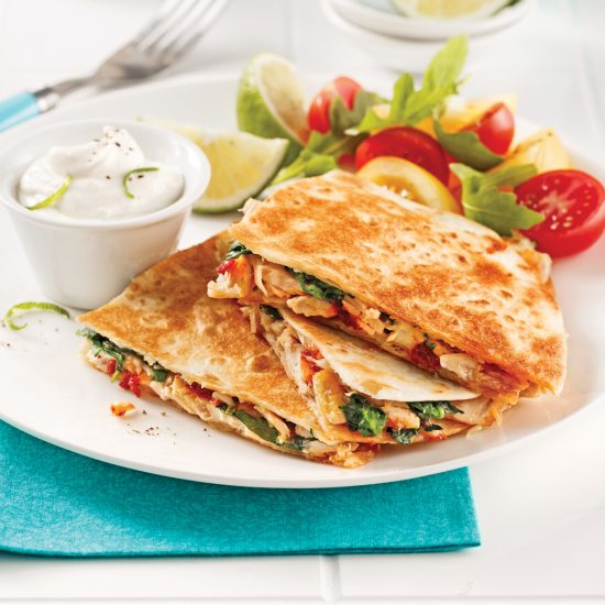 Quesadillas au thon et épinards
