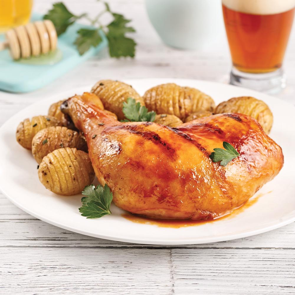 Cuisses de poulet grillées à la bière et au miel