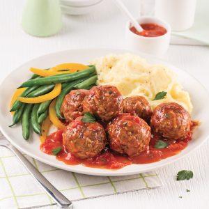 Boulettes de viande et riz, sauce tomate
