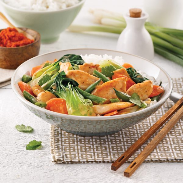 Cari thaï au poulet et légumes