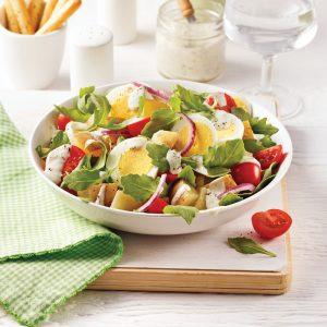 Salade de pommes de terre, sauce aux épinards