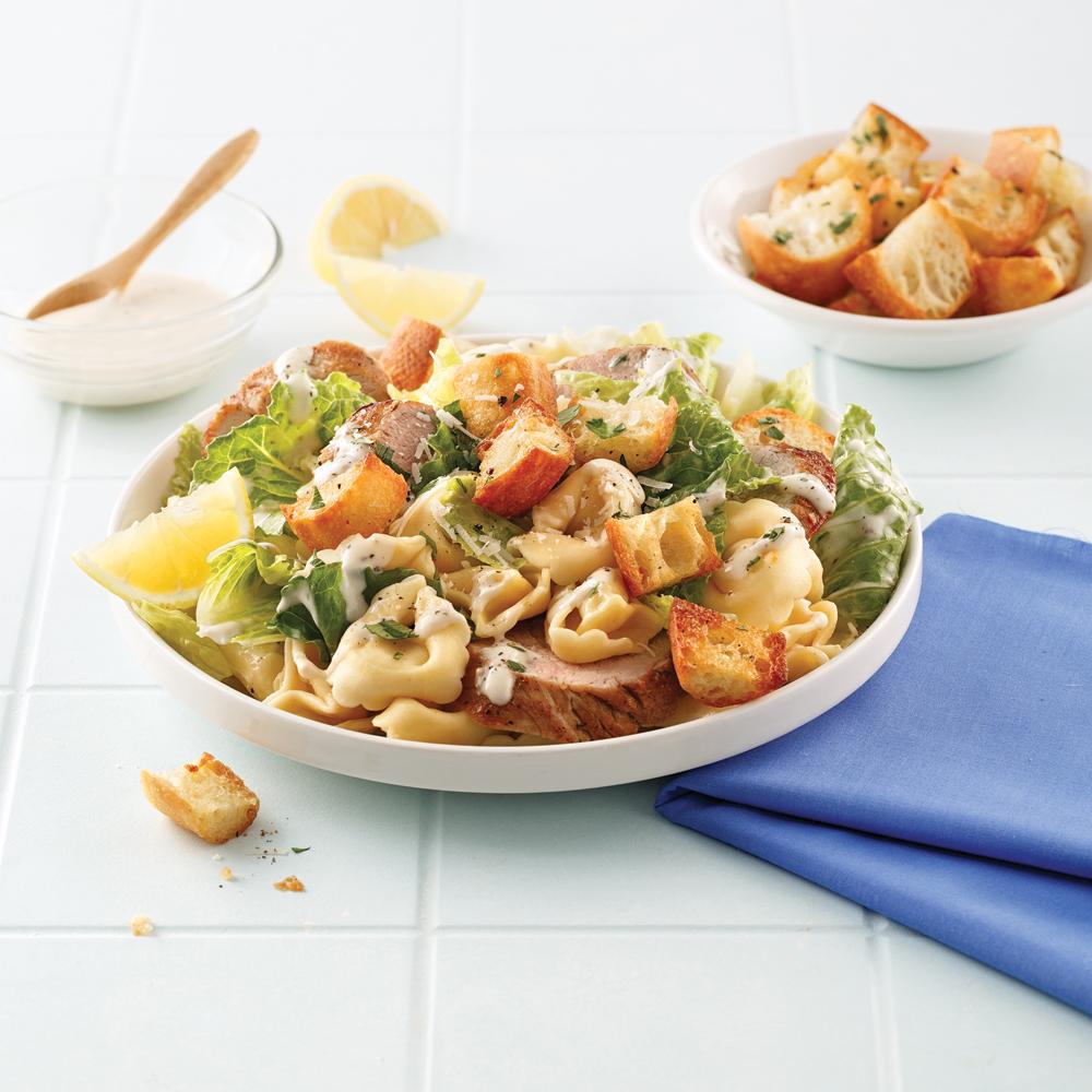 Tortellinis au porc et salade César
