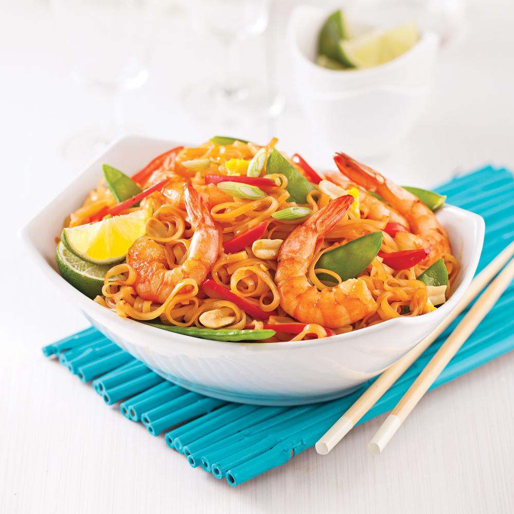 Pad thaï aux crevettes version minceur